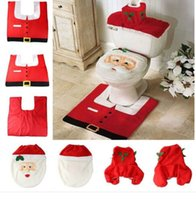 Wholesale Cute Santa Claus Toilet Sets Cover Case Foot Pad Water Tank Tissue Boxes Case A Set