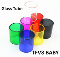 Wholesale SMOK TFV8 BABY Glass Tube Pyrex Replacement Glass Sleeve Tube ML Capacity for TFV8 BABY Beast Tank Atomizers DHL Free