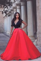 amazing and beautiful - Amazing Cap Sleeve Red And Black Women Dress for Prom V Neck A Line Satin Beautiful Prom Dresses abendkleider