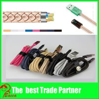 Wholesale 2 A Fast charging SYNC Data USB Cable Leather Braided M ft for HTC LG xiaomi huawei All Smartphone