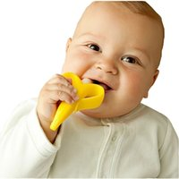 Wholesale 2016 New High Quality Environmentally Safe Baby Teether Teething Ring Babies Banana Silicone Toothbrush Deciduous Tooth Brush