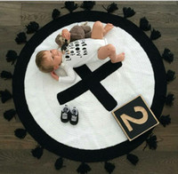 Wholesale 2016 New Cartoon Monochrome Cross Blanket Kids Tassel Play mat Bedroom Carpet Child Developing Baby Rug Hot New Fashion Creative Gifts