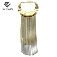 big choker necklace - Fashion Big Torques Choker Long Chain Tassel Necklace For Women fashion Accessories Maxi Collar Statement Necklaces Pendants