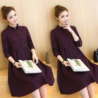 Wholesale 2016 Burst models New Maternity Fall Winter Clothes Plaid Dress High Waist Long Section Pregnant Women Pregnant Shirt Big Yards S Fourteen