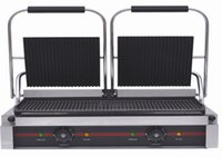 Wholesale XH E large size electric contact grill non stick top and bottom ribbed electric contact grill press griddle Panini maker steak maker