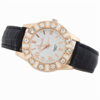 accurate rubber watch - High Quality Black New Stylish Inlaid Rhinestones Leatheroid Band Fashion Accurate Quartz Wrist Watch New