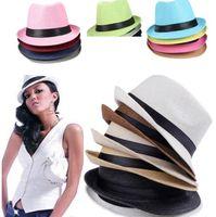 Wholesale Vogue Men Women sun caps Straw Hats Soft Fedora Panama Straw Hats Outdoor Stingy Brim hats Colors Choose