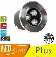 al por mayor ip67 subterránea-CE RoHS UL CSA de alta potencia 9W Lámpara de LED Underground impermeable Buried IP67 LED RGB al aire libre luces blanca caliente / fría CA 110-240V