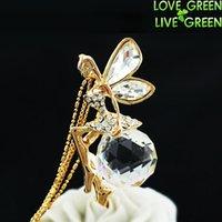 achat en gros de gros pendentifs-Gros-femmes 18K plaqué or jaune Fashion grande grande 2cm Ange cristal autrichien Collier avec pendentif fée bijoux chocker 100