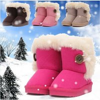 Wholesale Hot Fashion Children Shoes baby Boots Winter Boy Girls Cotton Padded Flat Snow Boots red Pink Brown Beige EU20
