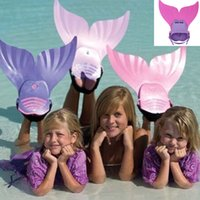 Wholesale 1 Piece Pink Green Adjustable Wave Fins Kid Free Swimming Fins Training Flipper Mermaid Kel Shoes Tail Diving Scuba Snornt Feet Tail Monofin