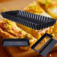 Wholesale Aluminum Black Square Rectangle Fluted Pie Tart Pan Mold Removable Loose Bottom Nonstick Quiche x x mm