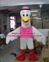 big foot shirt - Wonderful White Grus Japonensis Red crowned Crane Mascot Costume Cartoon Character Mascotte Pink Shirt Red Feet Big Mouth ZZ855