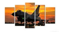 aviation art prints - 5 Piece Wall Art Painting Aviation Plane In Airport Under sunset Gathering Picture Print On Canvas Military The Picture