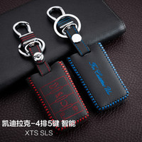 auto hand controls - For Calldilac XTS SLS Buttons Smart High Quality Hand Sewing Genuine leather Remote Control Car Key chain Car key cover Auto Accessories