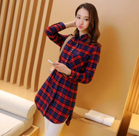 Wholesale 2016 Spring and Autumn new plaid shirt Elegant fashion Korean Slim was thin wild lapel long sleeved cotton shirt