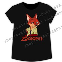 action shirt - PrettyBaby Zootopia short sleeves actions cotton designs T shirts cartoon red Fox cotton kids Blue T shirts summer for adult