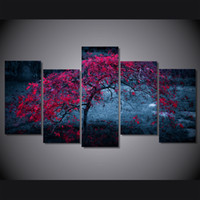 autumn tree pictures - 5 Set Framed Printed tree light purple autumn Painting Canvas Print room decor print poster picture canvas ny