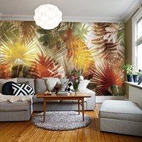 asian art prints - Southeast Asian Style Ppalm Leaves Art Mural Living Room TV Sofa Backdrop Wallpaper Custom D Mural Wallpaper Papel De Parede