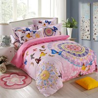 Wholesale 100 Cotton bohemian bedding sets full size butterfly print bed sheets girls pink double duvet cover linen couvre lit