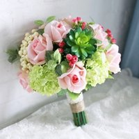 artifical plants - New Bridal Bouquets Pink Roses Green hydrangeas succulent plants Handmade Artifical flowers photography Wedding Favors Dropship