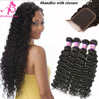 brazilian deep wave hair - Top A Grade Brazilian Deep Wave with Closure bundles with lace closure Brazilian Deep Curly Virgin Hair Natural Black Dyeable Hair Weave