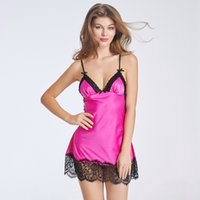 Wholesale Ladies Sexy Satin Nightdress Black Rose Sleeveless Nighties V neck Nightgown Plus Size Lace Sleepwear Nightwear Lingerie For Women W46255