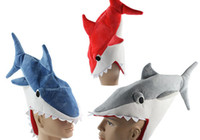 Wholesale Newest Novelty Shark Costume Hat Shark Hat Fish Cosplay Costume Hat For Hallowmas Party Caps Via DHL Ship