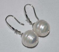 beautiful textures - AA Beautiful natural clear texture of white freshwater pearl dangle earring