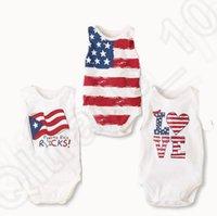 american flag onesie - 3 design LJJK215 sets Baby One Pieces Bodysuit Romper American flag printed Jumpsuit Onesie Cotton Triangle Jumpsuit One Piece