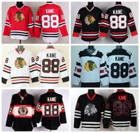 2016 Chicago Blackhawks NHL Maillots Hockey 88 Patrick Kane Maillot Throwback Stade Série Hiver Classique Noir Crème glacée Rouge Blanc Vert