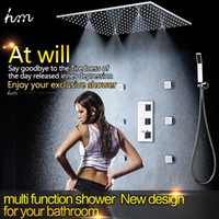 bathroom massage - 500 mm Ceiling Rain Shower Set Stainless Steel Mist Shower Head With Inches Body Massage Shower Jets Bathroom Shower Faucet Set