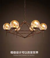 art deco industrial design - 2016 new design vintage industrial LED glass pendant America style restaurant clothing coffee decoration Iron DNA modo magic pendant light