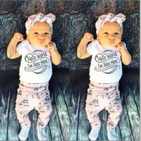 baby words - 2016 Newborn Baby Boys Girls suits Hello World I m new here funny words printed Romper Long Pants Cap cute Outfits cotton top Clothes