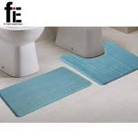 Wholesale set cm cm U shape coral fleece bath rug mat set toilet bath mat restroom floor feet cushion closestool