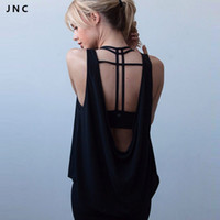 Wholesale JN Collection New Open Back Lightweight Yoga Tank Top Tee Backless Black amp White Quick Dry Workout Running Shirts For Women