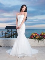 beach center - Sexy Beaded Sweetheart Beach Wedding Dresses Chiffon Center Bodice Ruched Asymmetrical Mermaid Wedding Gown With A Lace Up Back