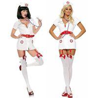 adult nurse uniforms - New Arrival Women Sexy Nurse Uniform Turn Neck Short Sleeve Nurse Costume with Headwear Adult Halloween Costume W8414