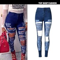articles scratch - 2016 Hot Whole Article Ripped Jeans Women High Waist Deep Blue Scratched Jeans Femme Hole Hollow Out Skinny Jeans Women