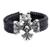 Wholesale 2016Hot Sale Black Leather Bracelets Skull Cuff Bangle mm Wide Bracelet Bangle for Women Men Brazaletes Pulseras Mujer Jewelry Accessories