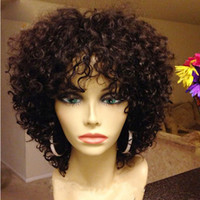 affordable baby - 8A Kinky Curly Human Hair Wigs Unprocessed Brazilian Short Affordable Full Lace Wigs Lace Front Wig For Black Women With Baby Hair