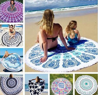 Wholesale 36 Types Summer Large Polyester Printed Round Beach Towels With Tassel Circle Beach Towel Serviette De Plage cm