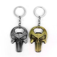Wholesale The Punisher Skeleton Skull Bottle Opener metal Keychain Pendant Keyring Chaveiro Skeleton Mask souvenirs gift
