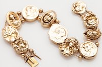 art nouveau bracelet - Vintage Art Nouveau Diamond k Yellow Gold SLIDE CHARM Bracelet RARE g