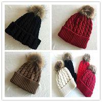 achat en gros de vraies femmes chapeaux de fourrure-Hiver 2015 Automne Mode féminine Laine tricotée Bonnets Casquettes 100% réel Raccoon Fur Pompom Beanie Chapeaux pour les femmes