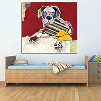 One Panel Oil Painting Impressionist MODERN ABSTRACT HUGE WALL ART OIL PAINTING ON CANVAS Great Dane Animal dog wall Painting print DECOR No FRAME