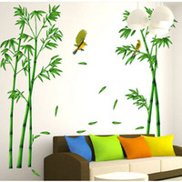 bamboo wallpaper for walls - Refreshing Bamboo Birds Wall Stickers Chinese Style Wall Decals Wallpaper for Bedroom Living Room Home Decorations WS211