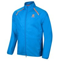 Wholesale Kelme K062 Men Long Sleeve Thin Stand Collar Quick drying Breathable Running Sport Jacket Blue