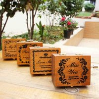 Wholesale Creative gift of birthday gift wooden hand music box of restoring ancient ways music box sky city couple girlfriends