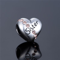 Wholesale silver charms silver Love charms Love Sister Charm mothers day silver charms fit charm bracelets No80 X121A